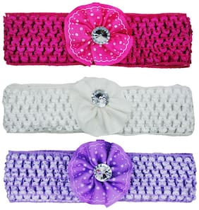 Netboys Crochet Cutwork Flower Baby Headband ( Pink , White , Purple ) 3 pcs Set