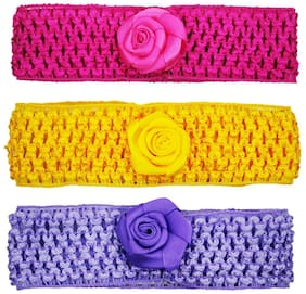 Netboys Crochet Cutwork Flower Baby Headband ( Pink , Yellow , Purple ) 3 pcs Set