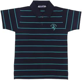 Neuvin Boy Cotton Striped T-shirt - Black