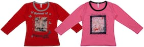 Neuvin Cotton Printed T shirt for Baby Girl - Red & Pink