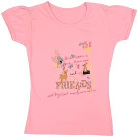 Neuvin Cotton Printed T shirt for Baby Girl - Pink