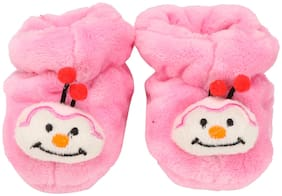 Honeycomb Pink Booties For Infants