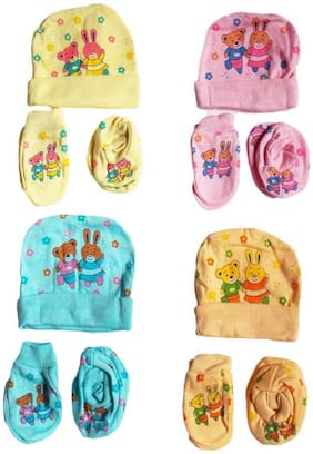 NEW BORN BABY'S CAP MITTEN AND BOOTIES SET PACK OF 4