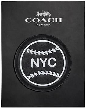 COACH NYC BLACK LEATHER BASEBALL STICKER STYLE NO. 22974 NEW