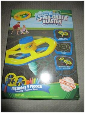 NEW CRAYOLA Washable Sidewalk Spira Chalk Blaster, 9 Pieces, 2 Spinner Rings