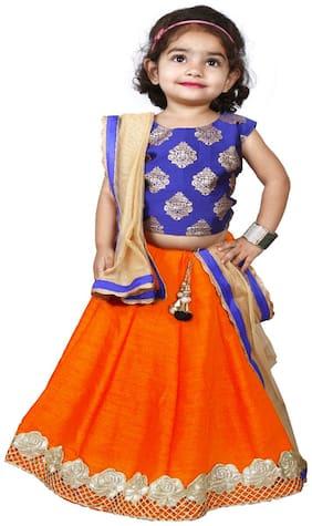 NEW CREATION Girl's Cotton blend Solid Sleeveless Lehenga choli - Orange