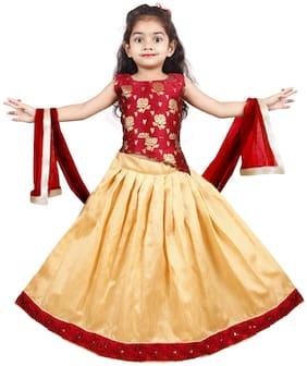 New Creation Cute Girls Lehnga Choli (Red;Beige)