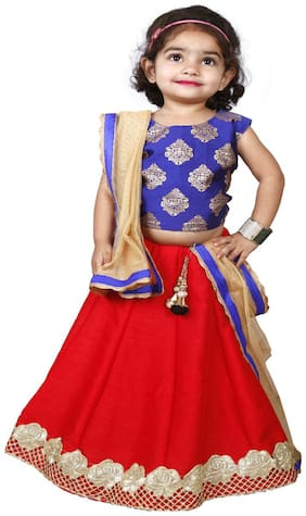NEW CREATION Girl's Cotton blend Solid Sleeveless Lehenga choli - Red