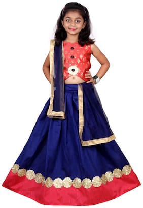 NEW CREATION Girl's Silk Printed Sleeveless Lehenga choli - Blue
