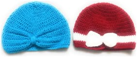 New Jain Traders - Combo of Two Hand Made Crochet Woolen Designer Caps for Baby Boys & Girls (6-12 Months, Frozen & Red)