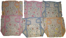 New Jain Traders - New Born Combo of Nappies - Unisex (Baby Boy & Baby Girl) (0-3 Months, 6 pcs Plastic Reusable Diapers Cum Panties)
