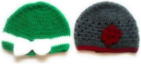 New Jain Traders - Combo of Two Hand Made Crochet Woolen Designer Caps for Baby Boys & Girls (0-6 Months, Green & Grey)