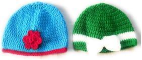 New Jain Traders - Combo of Two Hand Made Crochet Woolen Designer Caps for Baby Boys & Girls (0-6 Months, Frozen & Green)