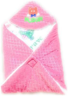 New Jain Traders - New Born Baby Premium Soft Woolen Hooded Blanket Cum Sleeping Bag Cum Baby Packer (Wrapper) - Unisex (0-9 Months, Pink)