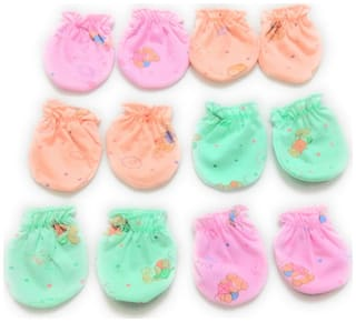 New Jain Traders - New Born Baby Cotton Hosiery Mittens / Hand Gloves / Muthi - Set of 6 Pairs (0-6 Months, Multi)