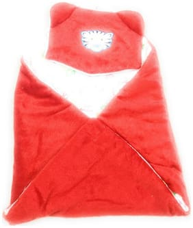 New Jain Traders - New Born Baby Premium Soft Woolen Hooded Blanket Cum Sleeping Bag Cum Baby Packer (Wrapper) - Unisex (0-9 Months, Red01)