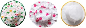 New Jain Traders - Bonnet Round Printed Sun Hat - Set of 3 - Baby Girls (0-6 Months, Multi)
