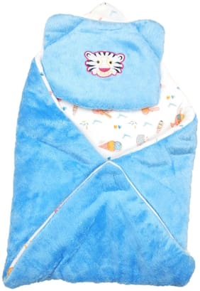 New Jain Traders - New Born Baby Premium Soft Woolen Hooded Blanket Cum Sleeping Bag Cum Baby Packer (Wrapper) - Unisex (0-9 Months, Blue01)