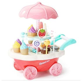 New Mini Sweet Shopping Cart Kitchen Play Set Toy with Lights and Music 30 Pieces - Multicolor
