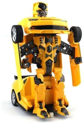 New Pinch Battery Operated Converting Car to Robot;Robot to Car Automatically;Transformer Toy;with Light and Sound for Kids(Yellow)