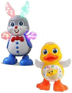 New Pinch Combo of Dancing Duck and Dancing Rabbit with Real Dance Action and Music Flashing Lights Best Gift for Kids