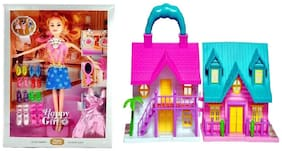 New Pinch Combo of Mini Foldable Twin-Sided Doll House with sweet happy girl Beautiful Doll Toy for Girls multi