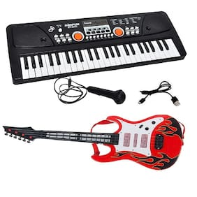New Pinch Combo of 49 Key bigfun Piano Keyboard with MIC;USB Cables16 Tones;8 Rhythms;6 Demos and 5 Percussion & Musical Guitar (Red)with Light and Sound for Kids