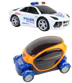 New Pinch Combo of Bump and Go 3D Lights Police Car with Sound and Revolving Wheels with 3D Star Led Lights & Sound Car for Kids (Multi)