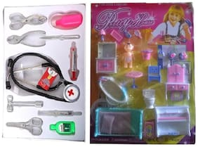New Pinch Combo Of Doctor Play Set(classic) With Pretty Furniture Kit For Kids(Multicolor)for Kids