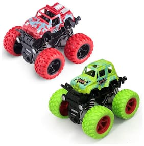New Pinch Crazy Monster Trucks Friction Powered Cars for Kids, Spin 360 deg Pack of 2