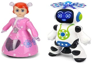 New Pinch Dancing and 360 deg Rotating Princess Doll Toy with Robot with Bump 3D Lights and Music Sound Toys for Kids and Toddler