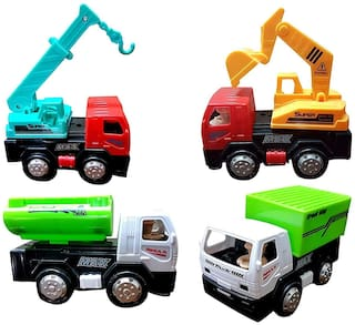 New Pinch Educational Friction Powered Engineering Truck Set Vehicles Toy for Kids (Sets of 4 Pcs.)