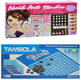 New pinch Ekta Combo of Nail Art Studio for Girls & Tambola/housie / Bingo with 600 Tickets Board Game Kids Family Game Home Play Entertainer (Board Game)