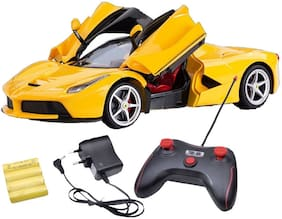New Pinch Ferrari Style Remote Control Car, Rechargeable, Opening Doors, Frustration Free Packaging, ABS Plastic Model Sports Car big size (Yellow) Popular Best Gift for Kids