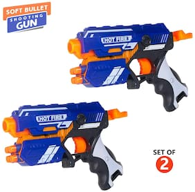 New Pinch Manual Soft Bullet Shooting Gun Toy with 10 Safe Foam/Suction Bullet for Boys ( Multicolor )pack of 2