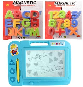 New Pinch Magnetic Learning Alphabets and Numbers with Drawing;Writing Magic Slate (Blue ) for Kids