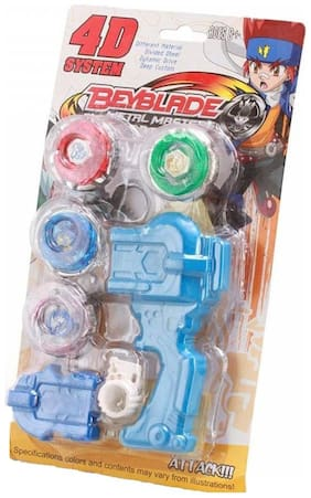 New Pinch Multicolor Beyblade With Handle Launcher (Set Of 4)