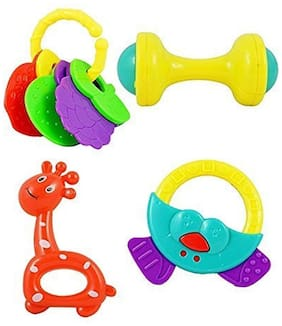New Pinch NonToxic Baby Rattle Toy for Infants and Toddlers;Multi (Set of 4 pcs)