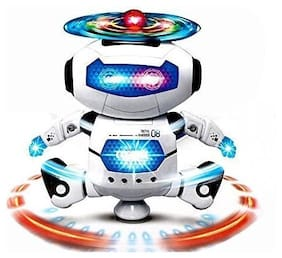New Pinch Popular Dancing Robot Toy with 3D Lights and Music (White)