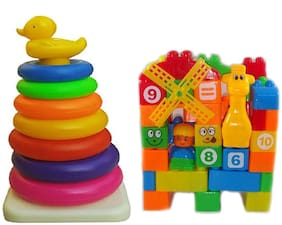 New Pinch Popular Duck Stacking Ring Super Stack Up Educational Toy with Learning 35pcs. Building Blocks for Kids (Multicolor)