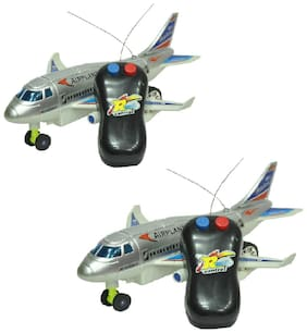 New Pinch Remote control Aeroplane 2 Channel for kids multicolor (Running not flying) (pack of 2)