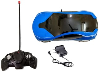 New Pinch Remote Control Rechargeable 3D Lighting Effect Racing Car with 4 Functions (Multicolour) Best Gift for Kids