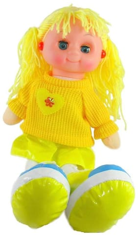 New Pinch Soft Musical flashing light Princess Doll Toy for Girls 35 cm ( yellow)