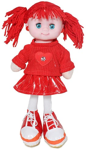 New Pinch Soft Musical flashing light Princess Doll Toy for Girls 35 cm ( Red)