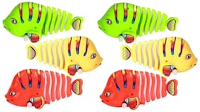 New Pinch Windup Cute and Small Fish Fun Toys for Kids Birthday Return Gift (Pack of 6)