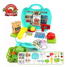 New TOy Chehar Enterprise  23 Pcs Suitcase With Organic Products Kitchen Play Set For Interactive Kitchen Learning For Kids