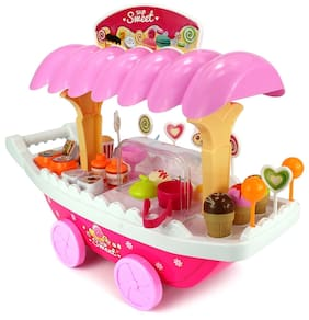 New Toy Chehar Enterprise  Battery Operated Ice Cream Trolley Set For Kids Pretend Roll Play With LED Lights & Music