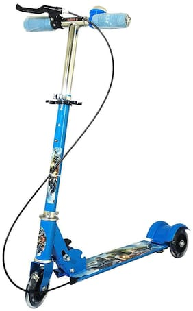 New Toy Chehar Enterprise 3 Wheeler Scooter Cycle Height Adjustable & Fold able with Hand break, Bell & Led Lights in Wheels