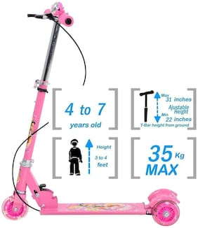 New Toy chehar Enterprise 3 Wheel Foldable Scooter with Height Adjustment & Led Light on Wheel(Break and Bell) (Multicolor)