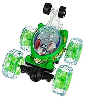 New Toy Chehar Enterprise Rechargeable BEN 10 Stunt Car Big Size 360 deg Rotating Remote Control (Multicolour)